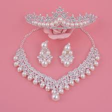 big pearl necklace wedding images Elegant big pearl crystal wedding party prom necklace clip on jpg