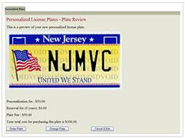 Dmv Vanity Plate State Of New Jersey Motor Vehicle Commission Order