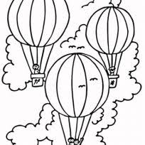 simple and easy air balloons coloring pages transportation