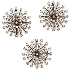gold burst wall decor set of 3 midcentury metal wall by