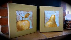 Apple Kitchen Decor by Hand Crafted Apple And Pear Kitchen Decor Napkin Art On Canvas Set