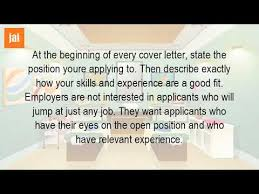 what should be said in a cover letter youtube