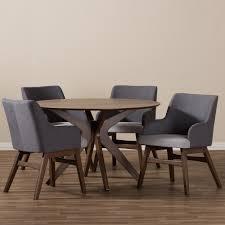 mid century modern dining room sets baxton studio monte mid century modern walnut wood round 5 piece