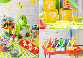 Super Mario Decorations Kara U0027s Party Ideas Super Mario Bros Themed Birthday Party Planning