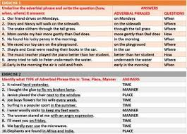 adverbial phrases worksheets with answers by john dsouza tpt
