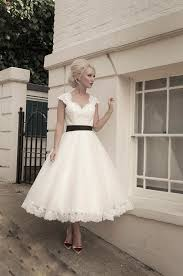 short calf length tulle and lace wedding dress with lace bodice