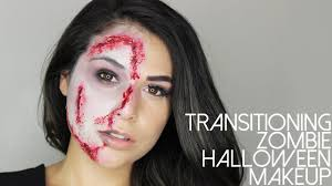 half face halloween makeup ideas easy halloween makeup transitioning zombie half glam half gore