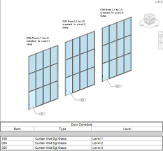 Revit Curtain Panel Revit Curtain Wall Doors Scheduling Host Level Heads Up