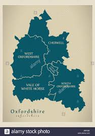 England County Map by Modern Map Oxfordshire County With District Captions England Uk