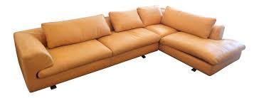 roche bobois orange leather sectional sofa chairish