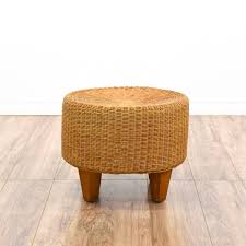 round wicker ottoman footstool 2 loveseat vintage furniture san