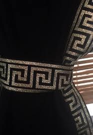 Greek Key Pattern Curtains Black Curtain With Black And Gold Greek Key Trim
