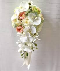 silk bridal bouquets top quality handmade artificial silk wedding bouquet flower for