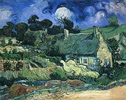 houses with thatched roofs cordeville vincent van gogh wallpaper