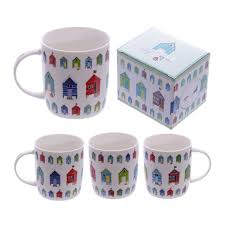 Design Mugs by Bone China Funky Beach Hut Seaside Design Mug Amazon Co Uk