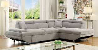 Pull Out Sectional Sofa Foreman Contemporary Style Gray Flannelette Fabric Pull Out