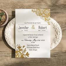 gold wedding invitations affordable traditional gold foil floral wedding invitation ewfi014