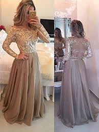 buy a line crew floor length sleeves gold chiffon prom dress