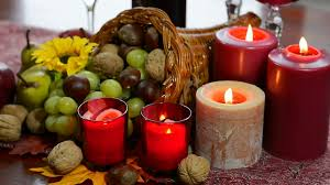thanksgiving cornacopia colorful rustic style thanksgiving table with fruit candles and