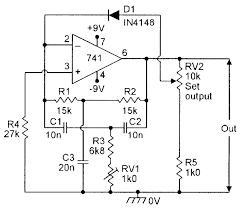 diode regulated 1khz twin t oscillator electronic schematics