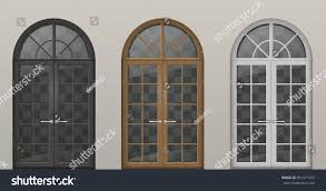 set classic arched wooden doors balcony stock vector 651471073