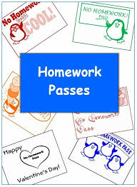 student homework passes for k 6 classroom caboodle