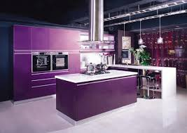 Purple Kitchen Countertops Sweet White Gloss Combined Silver Kitchen Cabinets Added Red