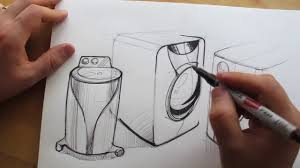 how to draw product design sketching washing machine design