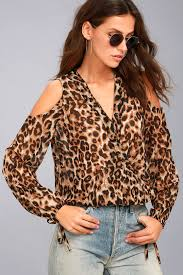 cold shoulder tops leopard print top cold shoulder top surplice top
