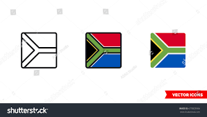 What Colour Is The South African Flag South Africa Flag Icon 3 Types Stock Vektorgrafik 675823966