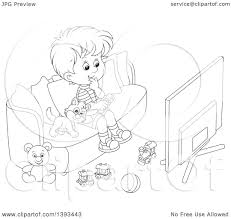Couch Cartoon Clipart Of A Cartoon Black And White Lineart Boy And Cat Sitting
