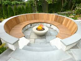 Garden Firepit Pit Gravel Area Curved Bench Plans With Back Concrete Garden