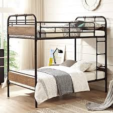 Wood And Metal Bunk Beds Wood And Black Metal Pipe Bunk Bed Free Shipping