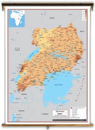 Uganda Africa Map by Uganda Physical Educational Wall Map From Academia Maps