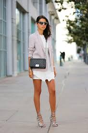 light violet blazer white casual dress silver gladiator sandals
