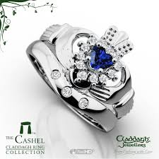 galway ring cashel white gold sapphire wedding set claddagh jewellers