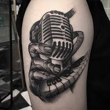 tattoos for guys shoulder a vintage microphone tattoo on shoulder graphic tattoo