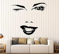 amazon com vinyl decal woman beautiful sexy face eyes lips smile amazon com vinyl decal woman beautiful sexy face eyes lips smile makeup wall stickers ig1604 home kitchen