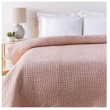 shop alba solid blush pink quilt chic cotton and silk bedding