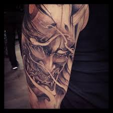 hannya mask tattoo black and grey half sleeve hannya mask tattoo chronic ink