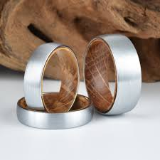 wedding ban wood ring lined with whisky barrel white oak mens wedding ban