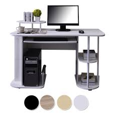 White Pc Workstation Wooden Computer Table Office Desk Hardware