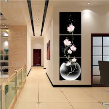 sell home decor 3 panel hot sell beautiful pink flower modern wall painting home