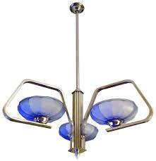 Nickel Ceiling Light Streamline Art Deco Periwinkle Blue Nickel Ceiling Light