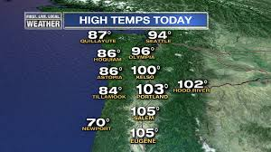Salem Oregon Map by Thursday Hottest Day In 6 Years Fox 12 Weather Blog