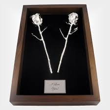 silver anniversary gifts 11 all silver roses in 25th anniversary gift shadow box is