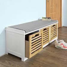amazon com sobuy storage bench with 3 drawers u0026 seat cushion