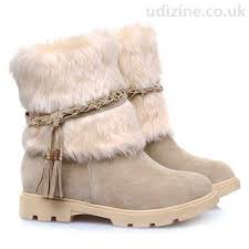 womens fur boots uk gorgeous s boots with faux fur fringe apricot toe