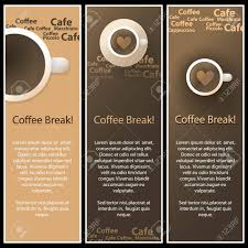 coffee shop menu template set of 3 coffee shop banner or menu template designs royalty free