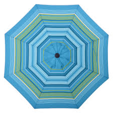 Market Patio Umbrella Shop Allen Roth Teal Green Stripe Market 9 Ft Patio Umbrella At